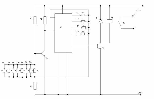 Таблица 6. 2. Рис. 7.Принципиальная электрическая схема кодового замка.